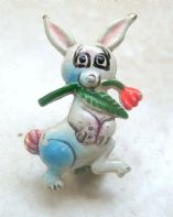 Vintage Dainty Enamel Rabbit With Rose Brooch.